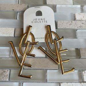 NWT Love Letters Faux Gold Drop Drop Earrings